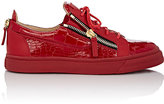 Giuseppe Zanotti Men's Croc-Stamped Double-Zip Sneakers-RED