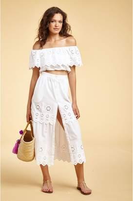 Miguelina Carolina Broderie Anglaise Midi Skirt - Pure White