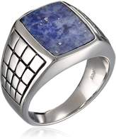 Amazon Collection Men's Sterling Checkerboard Sodalite Ring, Size 9