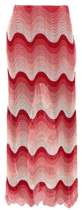Mary Katrantzou More Smiles Wave-crochet Maxi Skirt - Pink
