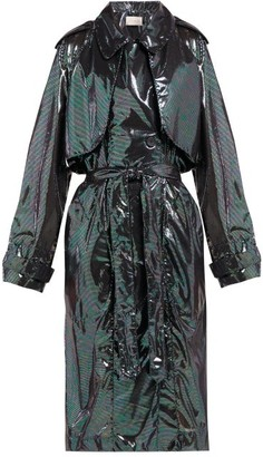 Christopher Kane Double-breasted Iridescent-chiffon Trench Coat - Black Multi