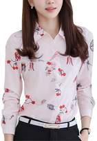 Double Plus Open DPO Women's Collared Long Sleeve Shirt Printed Blouse