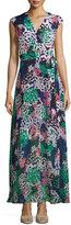 Taylor Sleeveless Floral-Print Maxi Dress, Navy/Coral