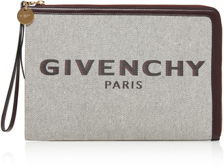 Givenchy Bond Leather-Trimmed Printed Canvas Clutch
