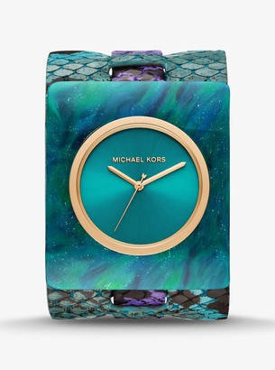 Michael Kors Willa Python-Embossed Leather and Marbled Acetate Watch