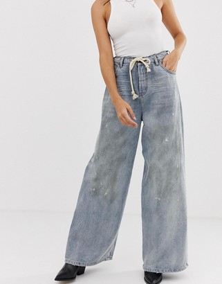 One Teaspoon highwaisted wide leg jean with rope belt detail-Blue