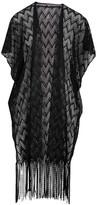 Lvs Collections LVS Collections Women's Kimono Cardigans BLACK - Black Zigzag Fringe-Accent Lace Kimono - Women