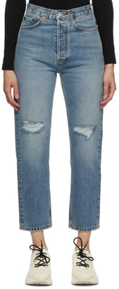 RE/DONE Blue 70s Ultra High Stove Pipe Jeans