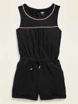 Old Navy Braided-Trim Slub-Knit Romper for Girls