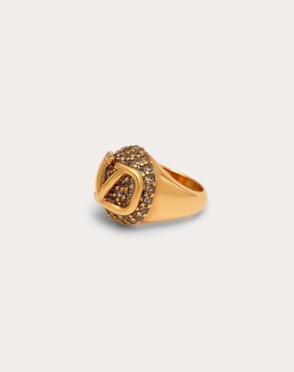 Valentino Vlogo Signature Metal And Crystal Ring Women Gold/black Brass 100% 13