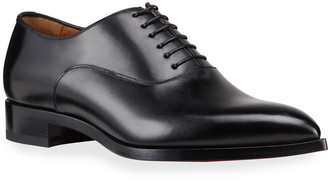 Christian Louboutin Men's Flatter Leather Lace-Up Dress Shoes