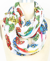 Betsey Johnson White & Rainbow Leopard Hearts Infinity Scarf