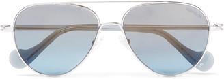 Moncler Aviator-Style Palladium-Plated Sunglasses