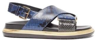 Marni Fussbett Snake Effect Leather Slingback Sandals - Womens - Navy Multi