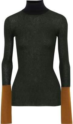 Marni Color-block Ribbed-knit Turtleneck Top