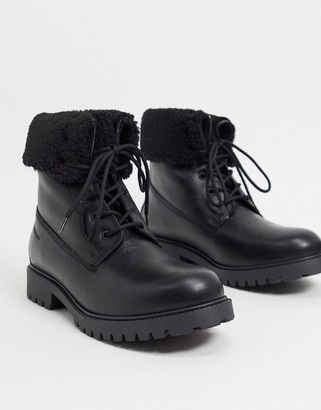 Aldo chagan leather lace up boots with faux-shearling lining in black