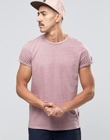 Asos T-Shirt In Lilac Nep With Roll Sleeve