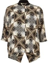 River Island Womens Plus black print popper shirt