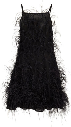 Cult Gaia Shannon Feather-Embellished Jersey Mini Dress