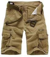 Allonly Men's Casual Cotton Slim Fit Multi-Pocket Cargo Shorts Above Knee With Zippers