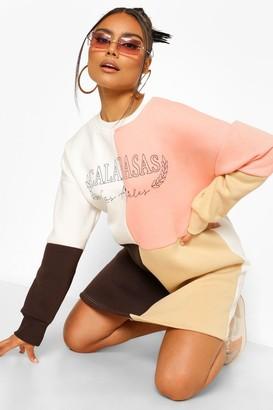 boohoo Colour Block Calabases Sweat Dress