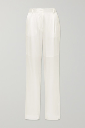 Michael Lo Sordo Silk-satin Straight-leg Pants - Ivory