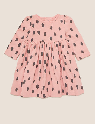 Marks and Spencer Pure Cotton Brushstroke Dress (0-3 Yrs)