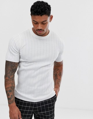 Asos Design DESIGN knitted muscle fit ribbed t-shirt in white