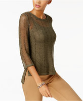 INC International Concepts Sequined Open-Knit Illusion Top, Created for Macy's