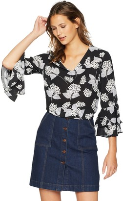 Nine West Women's V-Neck Printed Blouse with Flounce Sleeves