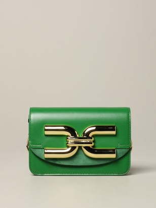 Elisabetta Franchi Shoulder Bag In Leather With Maxi Logo