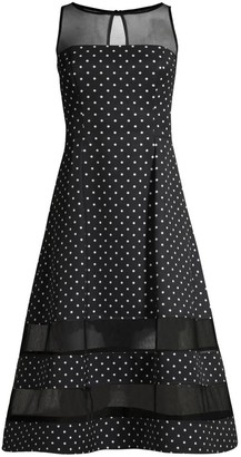 Aidan Mattox Polka Dot & Sheer Detail Dress