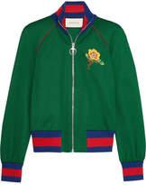Gucci Appliquéd Satin-jersey Bomber Jacket - Green