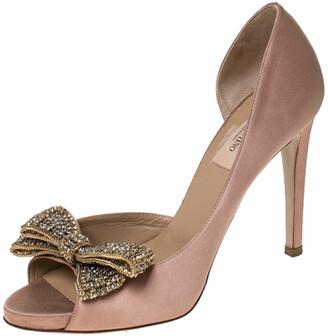Valentino Beige Satin Crystal Embellished Bow Dorsay Peep Toe Pumps Size 38.5