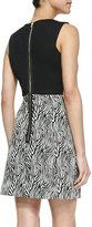 Milly Sleeveless Zebra-Print Leather-Top Dress