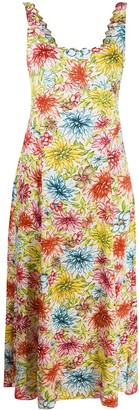 ALEXACHUNG Floral Midi Dress