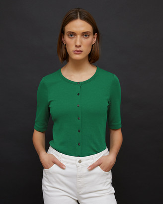 Jigsaw Ribbed Button Front Tee