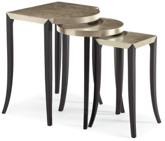 Caracole Out & About, Silver Leaf and Ebony Nesting Tables, 3-Piece Set