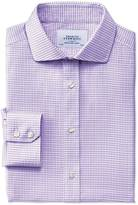 Charles Tyrwhitt Slim fit spread collar non-iron dobby check lilac shirt