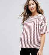 New Look Maternity Stripe Frill Sleeve Top