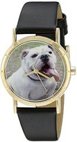 Whimsical Watches Kids' P0130018 Classic Bulldog Black Leather And Goldtone Photo Watch