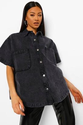 boohoo Oversized Short Sleeve Denim Shirt