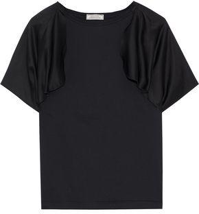 Nina Ricci Draped Satin-paneled Cotton-jersey T-shirt