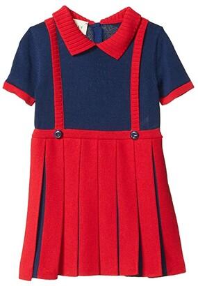 Gucci Kids Fine Vi/Co Plain w/ Pleats Dress (Infant) (Red/Blue) Girl's Clothing