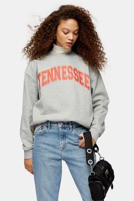 Topshop Womens Petite Grey Tennessee Sweatshirt - Grey