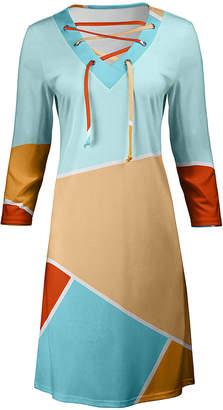 Lily Women's Casual Dresses BLU - Blue & Beige Geometric Color-Block Lace-Up V-Neck Dress - Women & Plus