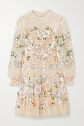 Needle & Thread Rosalie Ruffled Sequin-embellished Tulle Mini Dress - Pastel yellow