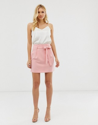 Asos Design DESIGN obi tie mini skirt-Pink