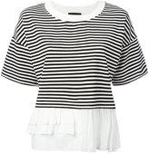 Moschino frill trim T-shirt - women - Cotton/Polyamide/Spandex/Elastane/Rayon - 42