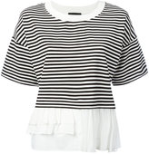 Moschino frill trim T-shirt - women - Polyamide/Rayon/Spandex/Elastane/Cotton - 40